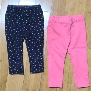Savannah jegging 2-pack pink/denim polka dot 12M